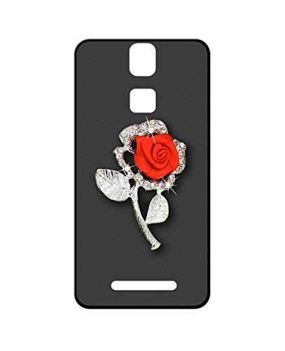 Sunrive Kompatibel mit Elephone P8000 Hülle Silikon,Glitzer Diamant Strass Handyhülle matt Schutzhülle Etui 3D Hülle Backcover (Rote Rose) MEHRWEG+Gratis Universal Eingabestift