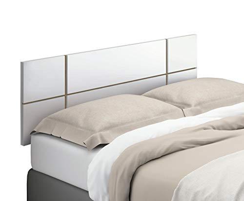 Miroytengo Cabecero Nova habitacion Matrimonio Dormitorio Estilo Moderno Color Blanco (Mate) 160x50 cm