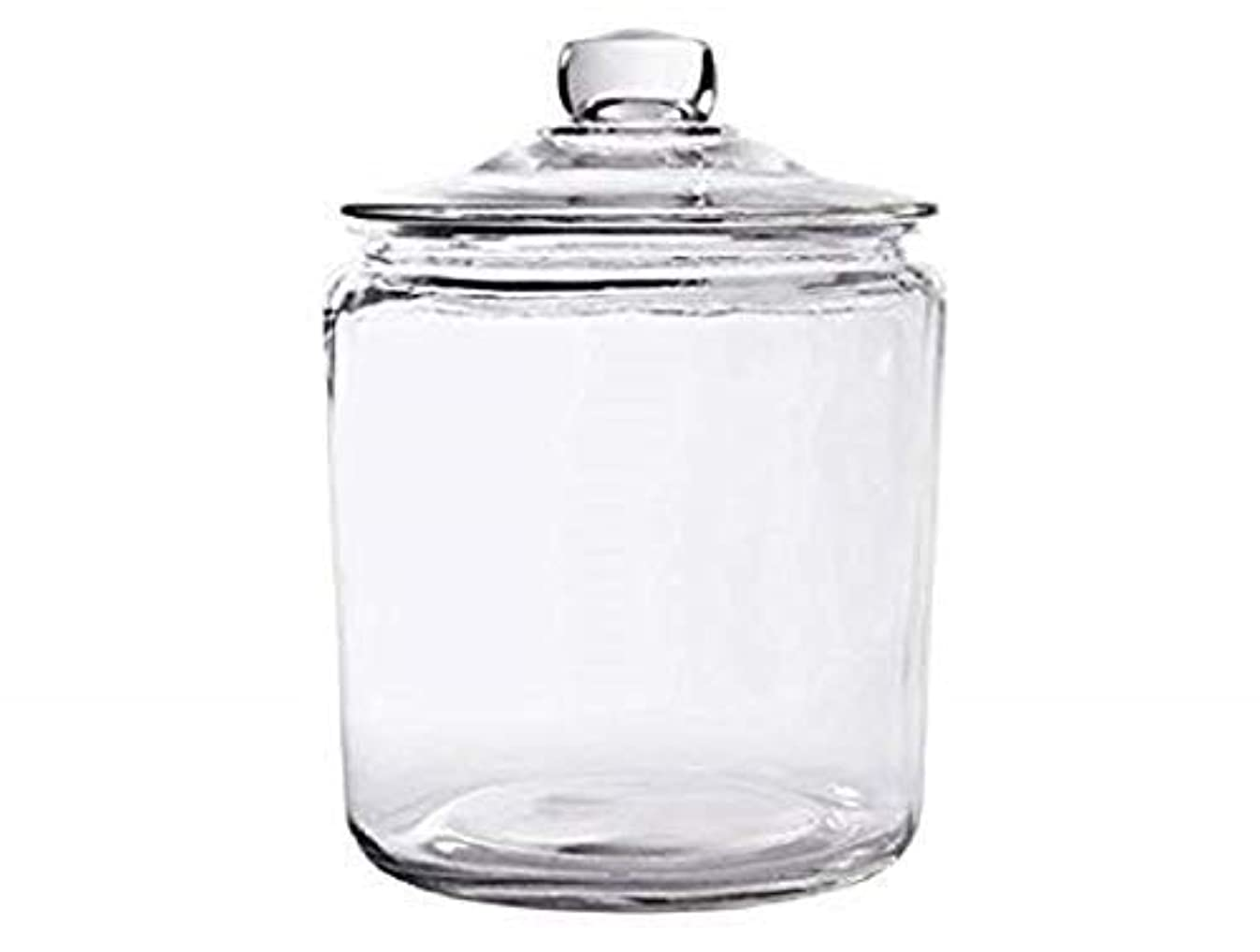 Glass Cookie Candy Penny Jar with Glass Lid, 1 Gallon Old Fashioned Clear Round Storage Container
