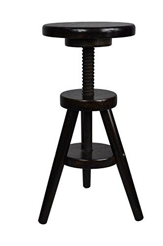 Magnetic Mobel® Hocker Massiv Schemel Stuhl Sitzmöbel Buche Drehhocker Barhocke 52-70cm (Nussbaum)