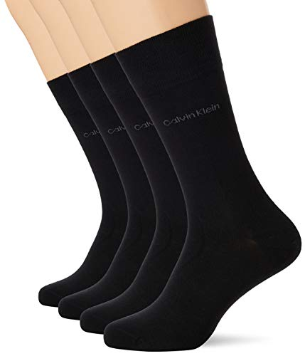 Calvin Klein Socks Herren Socken, 3er Pack, (Schwarz), 40/46 calze, Nero, One Size Uomo