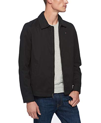 Tommy Hilfiger Men's Lightweight Microtwill Golf Jacket (Standard and Big & Tall), Deep Black, Large