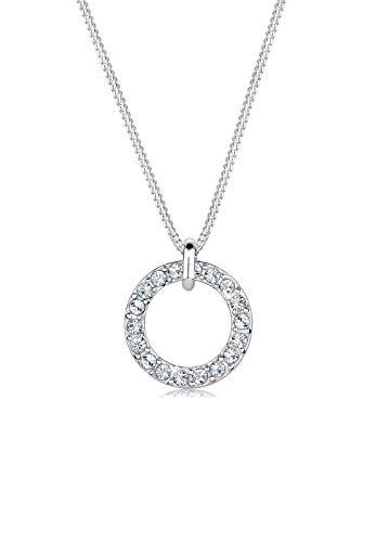 Elli Halskette Damen Kreis mit Swarovski Kristalle in 925 Sterling Silber