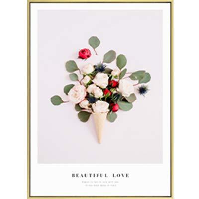 SDFSD Moderne romantische Rose Blume Leinwand Gemälde Grünes Blatt Poster Druck Nordische Wandkunst Bilder für Schlafzimmer Home Decor 30 * 40cm