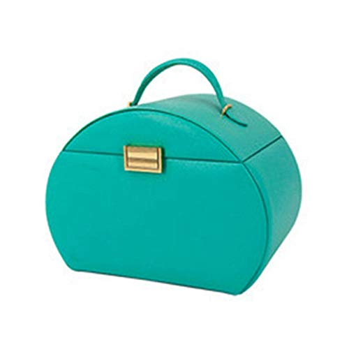 POMNEFE Joyero, caja de joyería de cuero de gran capacidad, caja de almacenamiento de joyas con cerradura y espejo, caja de joyería portátil de arco