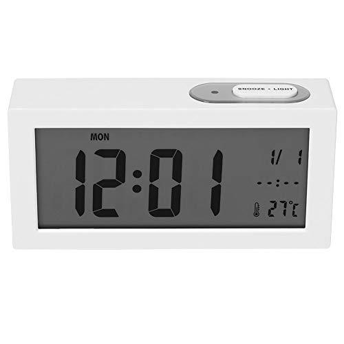 Digitale wekker, temperatuurweergave en wekkerweergave Auto Night Light 12/24 uur klokken, perfect voor op kantoor, slaapkamer, woonkamer wit