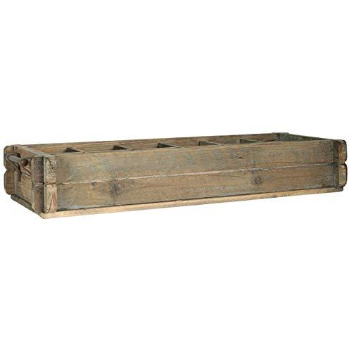 Ib Laursen Aufbewahrungsbox aus Naturholz, rustikal, mit 12 Räumen und Metallgriff.