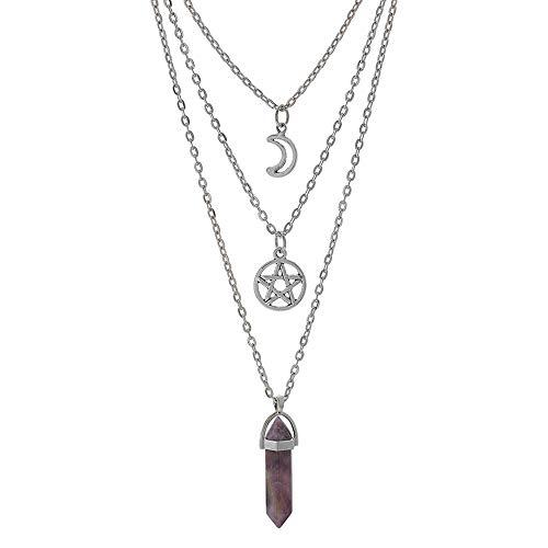 MJartoria Multi-Layered Moon Pentagram Necklaces-Gothic Jewelry Chakra Charm Pendant 3 Layered Alloy Chain Choker Necklace Set