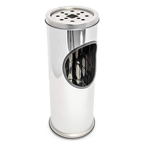 Relaxdays Standaschenbecher aus Edelstahl kleiner Stehaschenbecher mit entnehmbarem Aschebehälter und Abaschgitter Höhe ca. 37,5 cmAschenbecher für draußen mit integriertem Mülleimer, silber