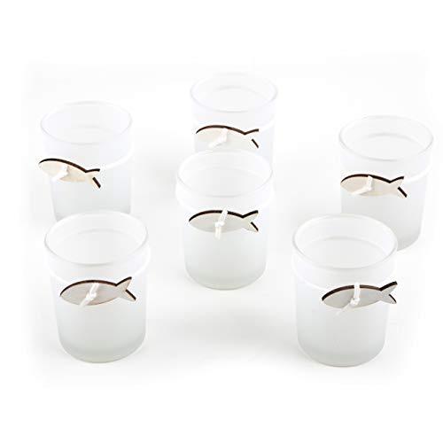 Logbuch-Verlag 6 Maritime Teelichthalter weiß transparent mit Fisch - Windlichtgläser Tischdeko kleines Geschenk Taufe Kommunion Hochzeit