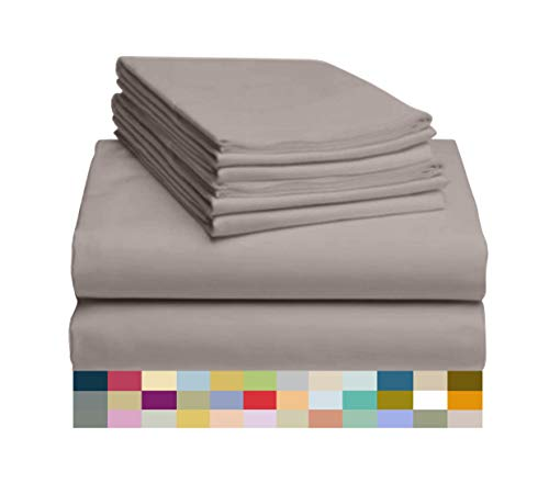 """LuxClub 6 PC Sheet Set Bamboo Sheets Deep Pockets 18"""" Eco Friendly Wrinkle Free Sheets Machine Washable Hotel Bedding Silky Soft - Mocha Queen"""