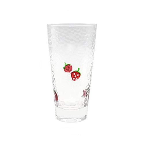 YTO Vaso de Boro Alto de Fresa con patrón de Martillo, Vaso de Leche de Bebida de Jugo Fresco pequeño Lindo