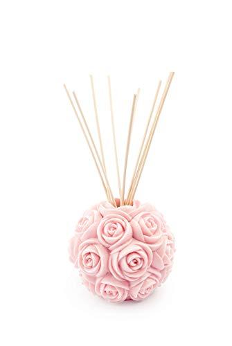 MANULENA Ambientador Mikado con Forma De Rosa. Aroma Peony Rose. Color Rosa. Difusor De Varillas con Palitos De Rattan Natural. 100 ml