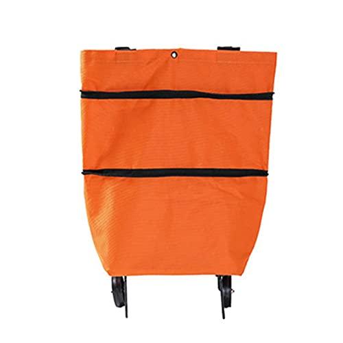 Povanjer - Trolley pieghevole pieghevole per la spesa, multifunzione, in tessuto Oxford, pieghevole, con ruote pieghevoli, per risparmiare forza, riutilizzabile, per la spesa o per viaggiare