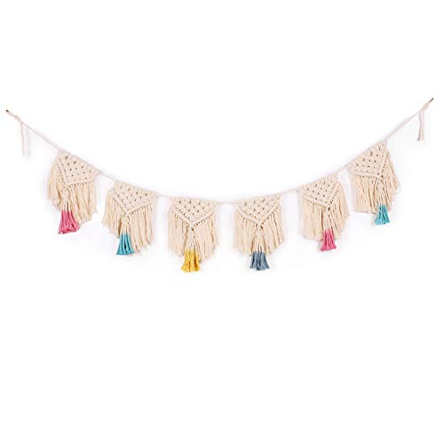Midenco Boho Wall Decor Macrame Woven Wall Hanging Banner Cute Colorful Tassel Garland Art Banner Bohemian Shabby Chic Home Decor Used for Bedroom Apartment Living Room Nursery Girls Room and Dorm