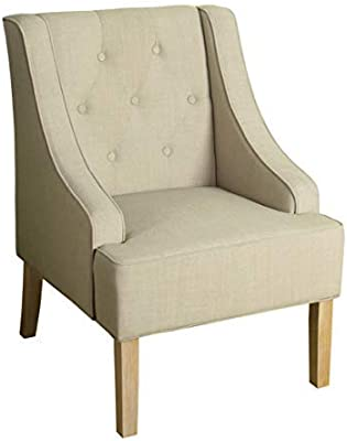 HomePop Kate Tufted Swoop Arm Accent Chair, Cream
