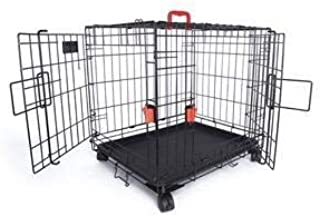 M-Pets Voyager Wire Crate with 2 Doors and Wheels - S