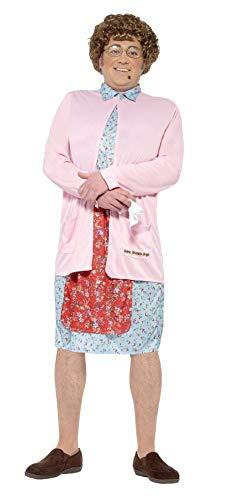 Smiffys 27076M - Mrs bruin padded kostuum jurk cardigan pruik glazen handkerchief en mole, roze