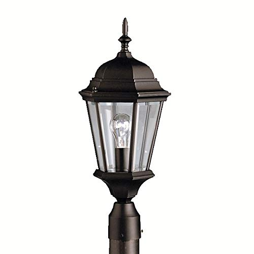 Kichler Lighting 9956BK Madison - 1 Light Outdoor Post Mount - with Traditional Inspirations - 21.75 inches Tall by 9.5 inches Wide, Black Finish with Clear Beveled Glass