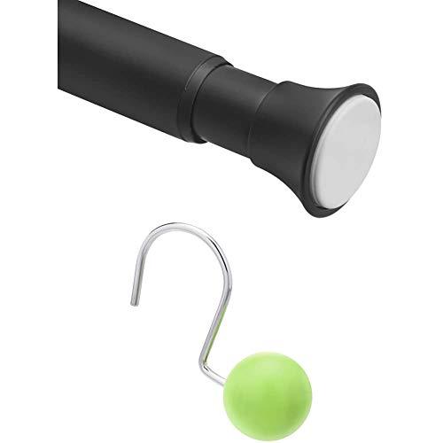 Amazon Basics Teleskop-Duschvorhangstange zum Einklemmen, 61-91 cm, Schwarz + – Haken für Duschvorhang, r&er Ball, grün