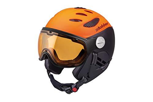 Slokker Skihelm Snowbordhelm BALO mit photochromatischem und polarisierendem Visier (55-57, Orange-Black)
