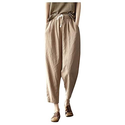 Womens Cotton Linen Pants,Casual Pocket Drawstring Elastic Waist Capri Pants Summer Loose Comfy Wide Leg Crop Pants