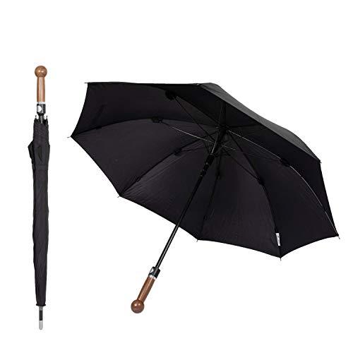 Sicherheitsschirm gratis Videokurs | Verteidigungs Abwehr Regenschirm | Selbstverteidigung (Knauf Nussbaum, 92cm)
