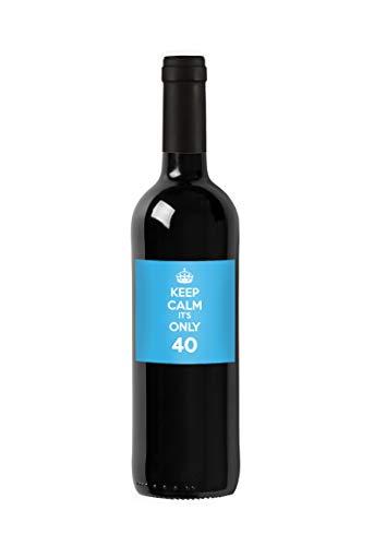 Bottiglia di vino personalizzata Merlot del Veneto IGT - Keep Calm it's only - Idea regalo personalizzato per compleanno e anniversario - 750 ml (Azzurro)