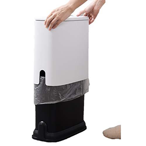 YULAN prullenbak kan op type afvalbak vuilnisbakken inbouwen, met deksel, papieren mand smal keuken woonkamer badkamer 2 kleur 37,5 * 15 * 32,5 cm