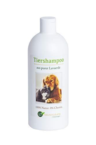 Bio-Tiershampoo vegan ohne Seife / chemische Zusätze, auf Basis von Lavaerde geruchsneutral hypoallergen 500ml Hundeshampoo Katzenshampoo Fellpflege Schuppen Langhaar Kurzhaar weiches glänzendes Fell