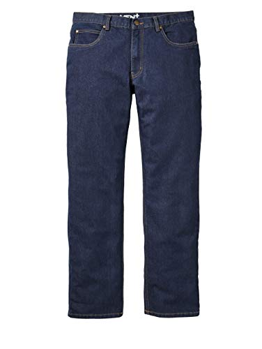 Men Plus by HAPPYsize Herren-Jeans – Männer-Hose aus Baumwoll-Mix, Regular Fit Jeans-Hosen mit Knopf-Leiste, Freizeit-Hose in Dark Blue, Gr. 74