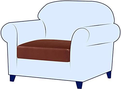 subrtex Copriseduta Divano in Pelle Elasticizzato PU Copricuscino Impermeabile Protezione del Cuscino Sedile del Divano (1 Posto, Pelle Arancione)