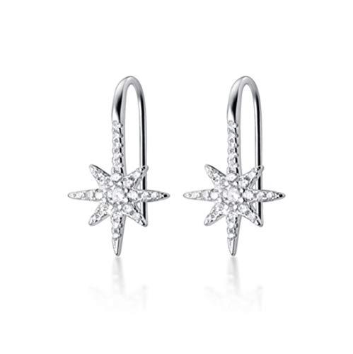 Vvff Pendientes De Gancho De Estrella Salvaje De Plata Real Para Mujer Con Joyas De Boda Minimalistas De Diamantes De Imitación