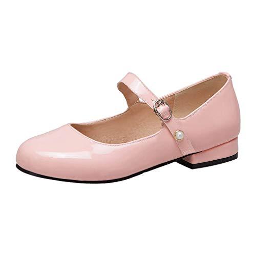 Mary Jane Damen Schuhe Lack Pumps mit Riemchen Schuhe (Rosa,34)