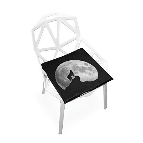 Wild Howling Scared Moon Night Wolf Morbido antiscivolo Memory Foam Chair Pads Cuscini Sedile per la casa Cucina Sala da pranzo Ufficio sedia a rotelle Scrivania Mobili in legno Indoor 16 X 16 Inch