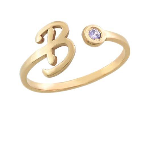 Yanday Einfache benutzerdefinierte Ring Ring Intarsien Geburtsstein Eröffnung Ring 18 Karat (750) Gelbgold 52 (16.6)