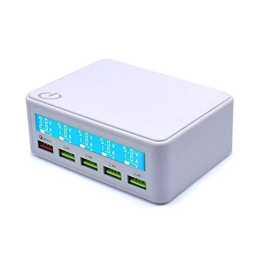 Caricabatterie USB QC 50W con Schermo LCD costituito da 4 Porte USB per iPhone, iPad, Samsung Galaxy And More