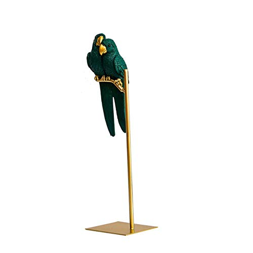 LIJUCAI Adornos artesanales de pájaro Loro Animal simulado de Resina Creativa nórdica Oro decoración de Escritorio Moderna para el hogar Figuras en Miniatura, C