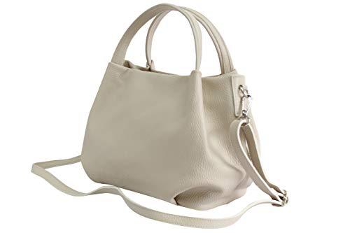 AmbraModa borsa a mano di donna, borsa a tracolla, borsa a spalla italiana in vera pelle dollaro GL023 (bianco)