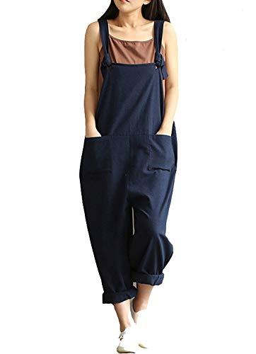 Aedvoouer Women's Jumpsuits Overalls Plus Size Wide Leg Loose Cotton Linen Baggy Bib Pants