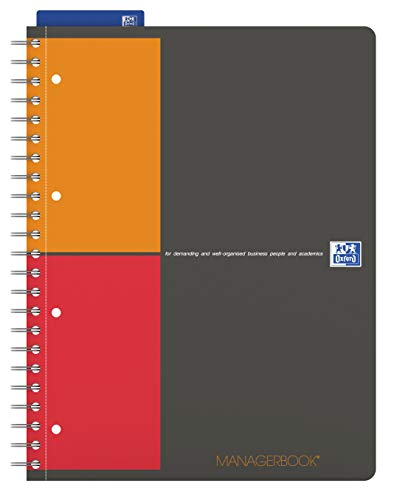 OXFORD 400010756 Managerbook International A4+ liniert 80 Blatt grau Spiralblock Collegeblock - clevere Organisation für Manager und Führungskräfte