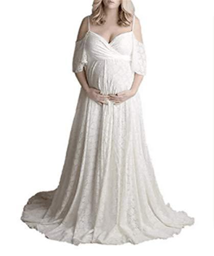 Vrouwen met capuchon Zwangere vrouwen met korte mouwen Jumpsuit Trailing kanten jurk Fotografie Block Pull-up (Color : White, Size : XL)