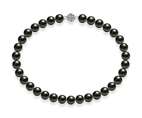 Schmuckwilli Damen Muschelkernperlen Perlenkette Grün Schwarz Magnetverschluß echte Muschel 45cm dmk2003-45 (12mm)