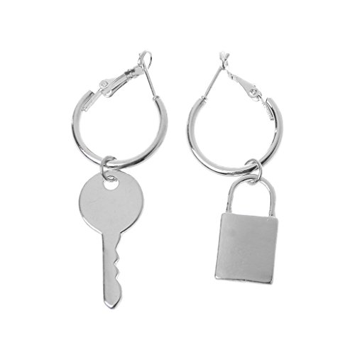 njuyd Fashion Trend Earrings 1 Pair Lock and Key Mismatch Drop Earrings For Women Bff Simple Fashion Jewelry