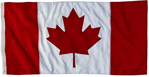 Canadian Flag 3x5 Ft - Outdoor Nylon 210D - Embroidered Maple Leaf Detail with Sewn Panels - UV Fade Resistant Heavy Duty Flag of Canada