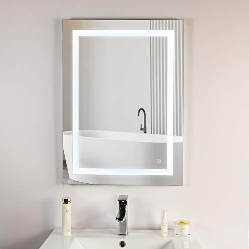 Habison Espejo de baño con iluminación LED, 60 x 80 cm, espejo LED, color de luz 3000 K-6000 K + interruptor táctil