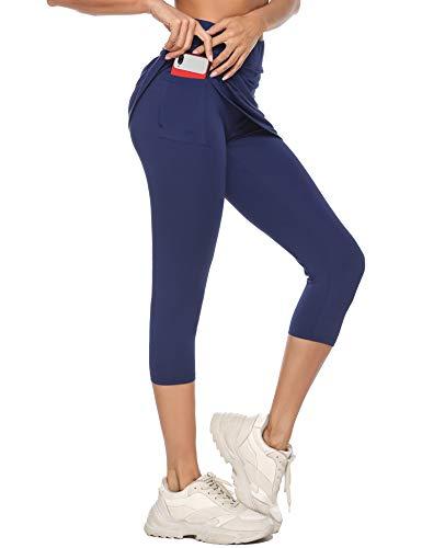 iClosam Falda Padel Mujer de Tenis y Golf Ligeros Falda de Golf Falda de Tenis Corta Verano para Entrenamiento(L,Azul)