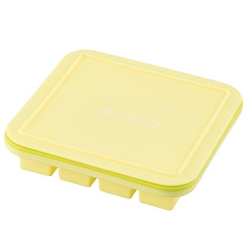 Levivo Silikon Eiswürfelform mit Deckel, Silikonform mit eingearbeitetem Metallkern im Rahmen, für 16 Eiswürfel á 2,5 x 2,5 x 2,5 cm, geeignet zum Einfrieren oder als Pralinenformen, Gelb/Grün