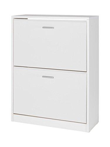 MUEBLECASA- Zpatero 2 puertas KIT, madera, Blanco, Capacidad hasta 12 Pares, 85cm Alto x 65cm Ancho x 25cm Fondo.