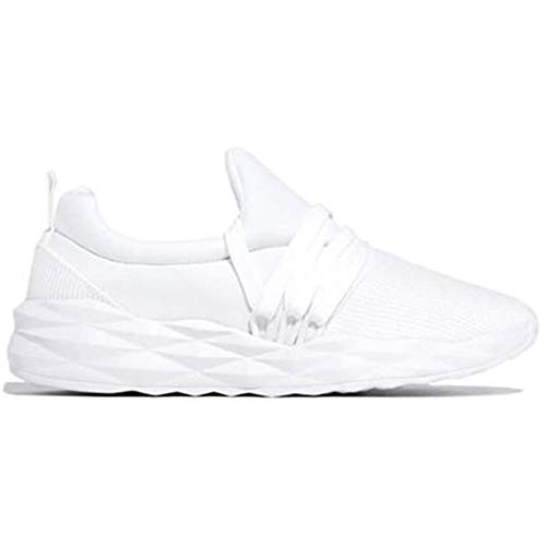 BSTL Zapatillas de Deporte con Cordones para Mujer, Zapatos para Correr para Caminar, Punta Redonda, Informal, Antideslizante, Transpirable, Zapatos Deportivos para Mujer,White-36